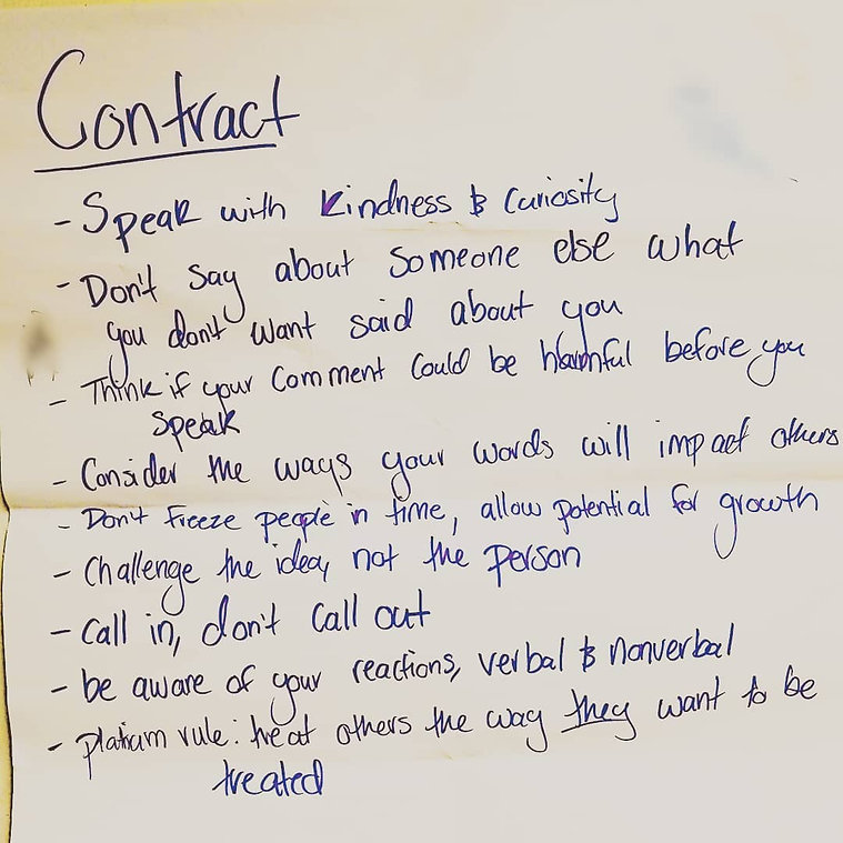A behavior contract for social justice themed lessons