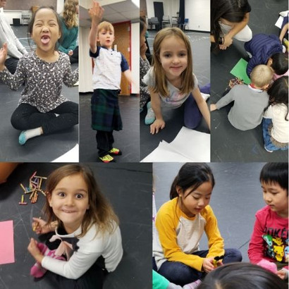 Collage of young children in drama class