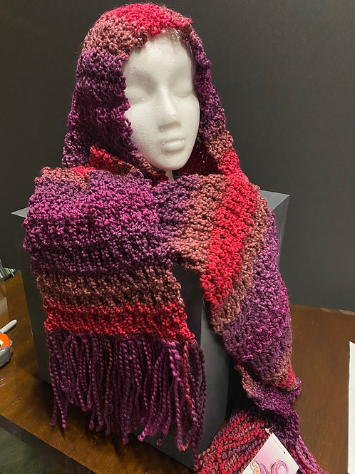 Shades of Fuscia Hand Knitted Scarf