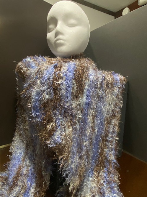 Periwinkle and Brown Hand Knitted Shawl