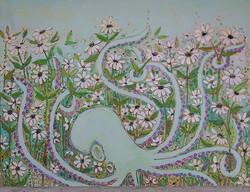 Minty Kraken Daisies on Canvas