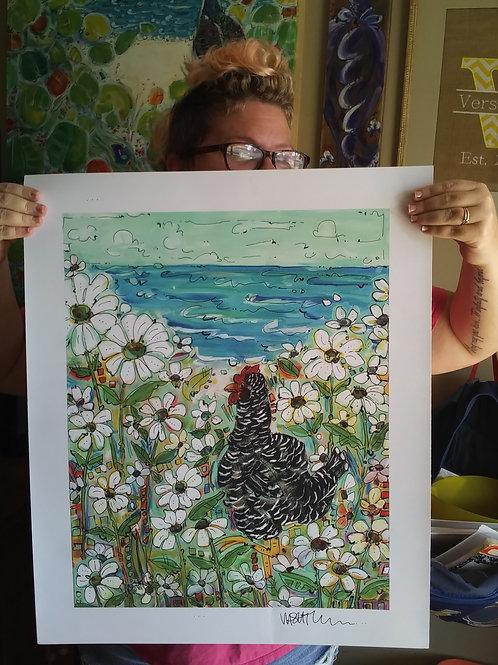 Barred Daisy Garden (Print)
