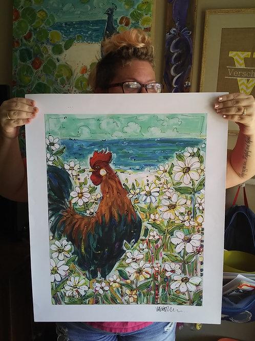 Rooster Daisy Garden (Print)