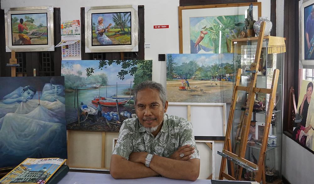 The painter Amirudin Ariffin in his studio.