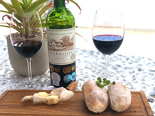 Red wine with home made bread and butter