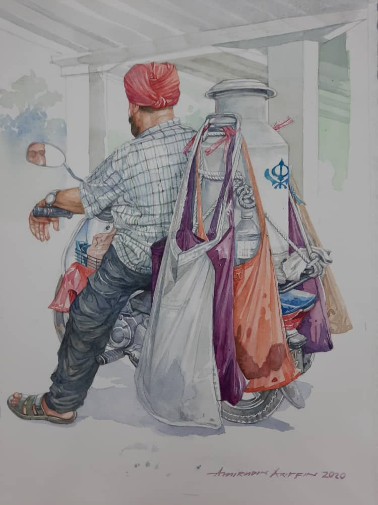 Painting of a milk man on a scooter
