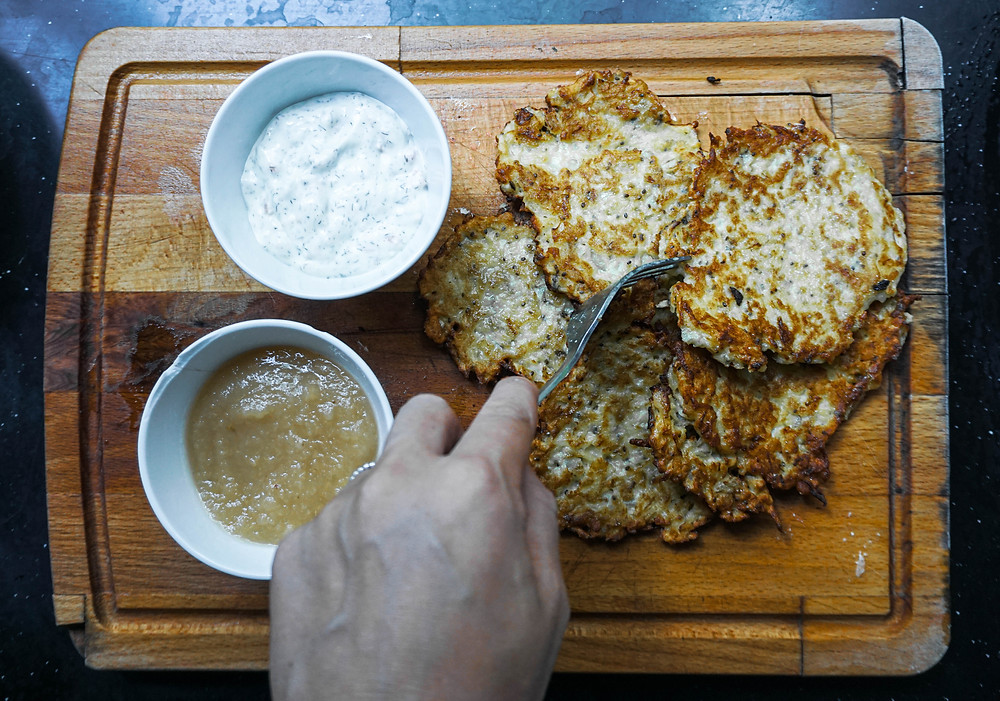 Grated potato pancakes