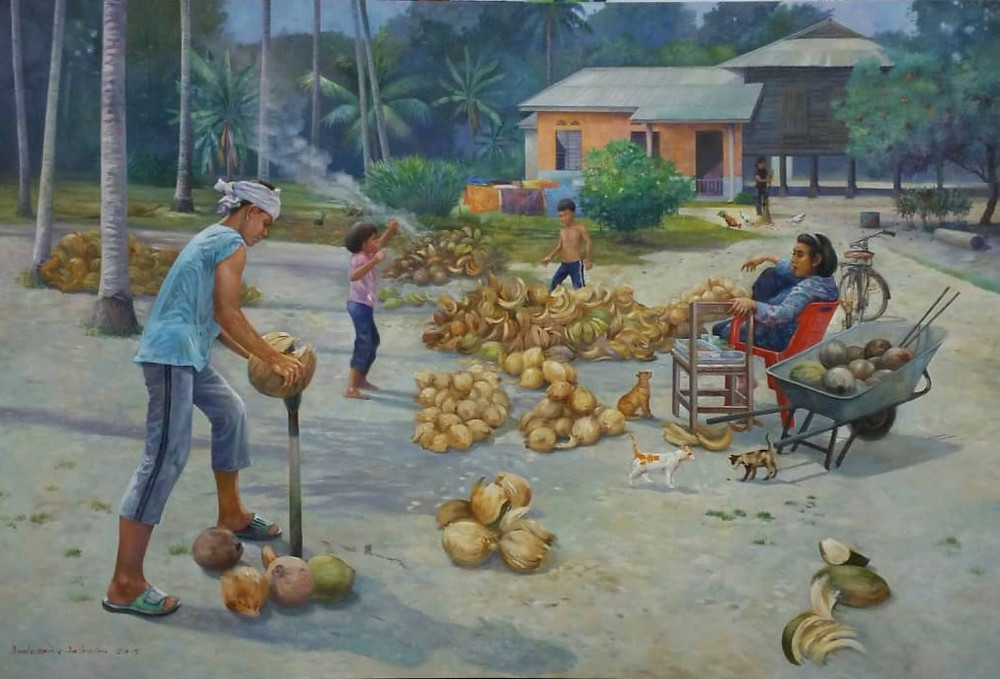 Painting of a man cutting coconuts in a village in Malaysia