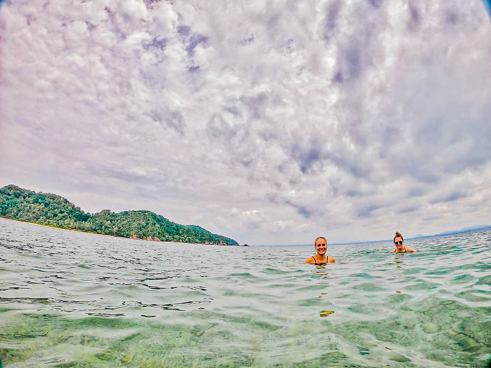 Julia and Julia swimming in the ocean