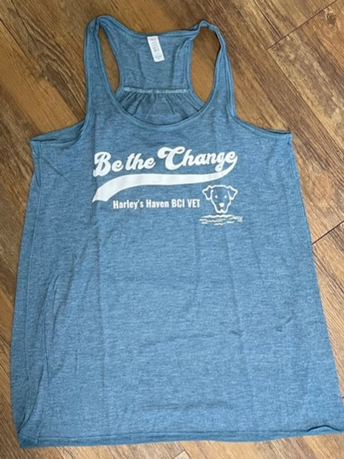 Teal 'Be the Change' women's racerback tank