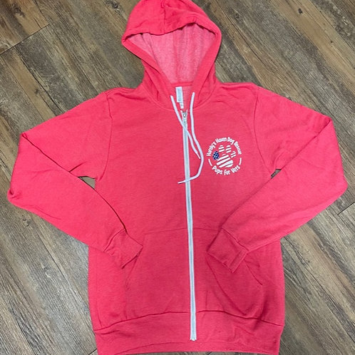 Red Pups for Vets unisex zip up hoodie