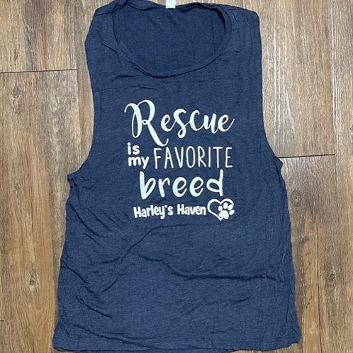 Navy 'Rescue is my favorite breed' women's tank