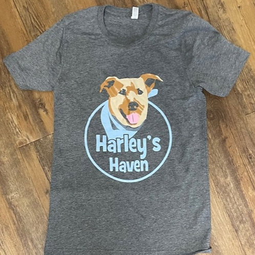 Gray Harley's Haven original full color logo unisex tee