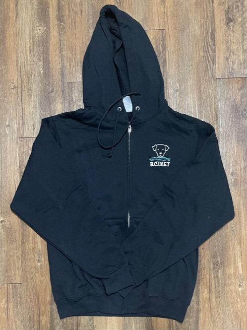 Black BCI VET embroidered color logo unisex zip up hoodie