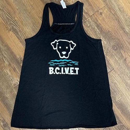 Black BCI VET logo women's racerback tank