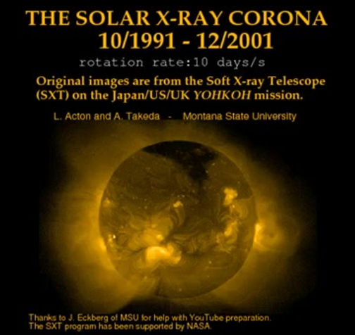 The video is the solar coronal X-rays over an 11-year solar cycle.