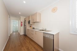 Cabin kitchen and hallway
