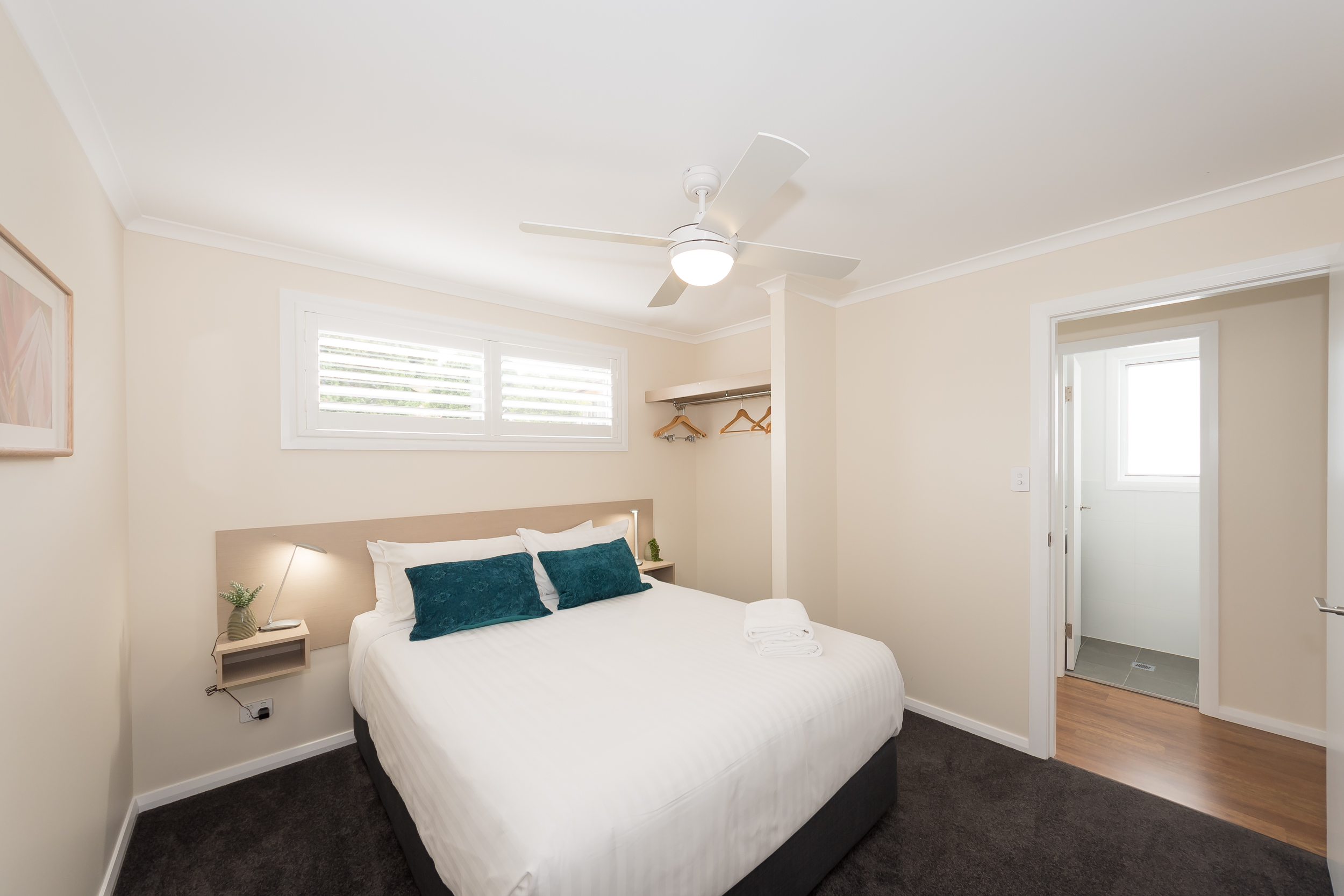 Main bedroom with comfy queen size bed