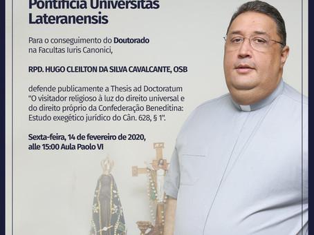 RPD. Hugo Cleilton da Silva Cavalcante, OSB, defende tese do Doutorado em Roma