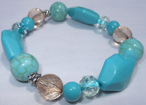 Turquoise Marbled Designed Stretch Bracelet