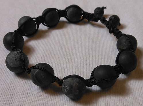 Black Bead Cord Bracelet