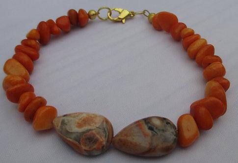 Orange Teardrop Bracelet