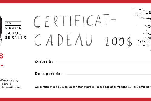 Certificat-cadeau 100
