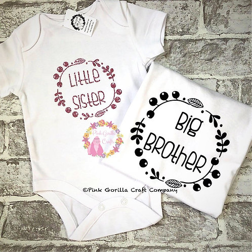 Sibling Tshirts, Matching Sibling Set, Brother Sister Tshirt, Clothing Gift Set,