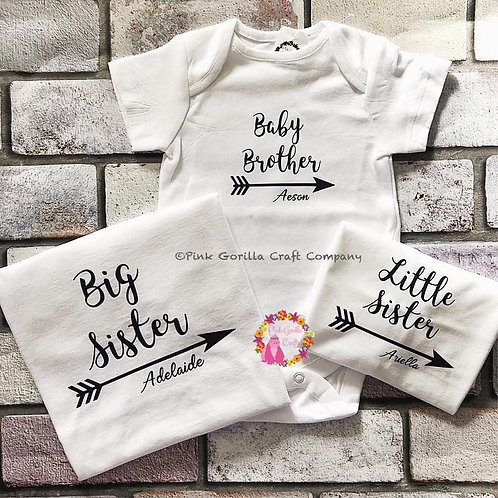 Sibling tShirt Set. New baby set. Sibling shirt set. Big brother tshirt. big sis