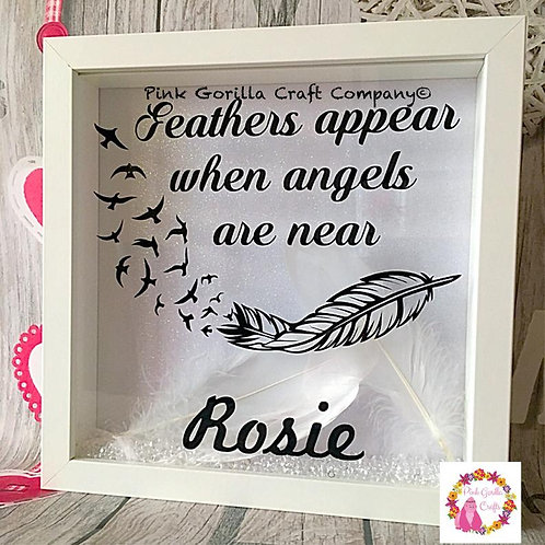 Remembrance frame, In memory frame, feathers appear when angels are near, memori