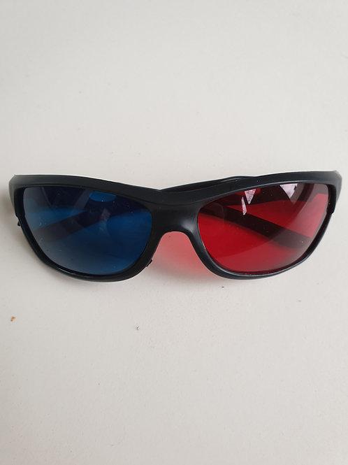 Lunettes rouge/bleu monture plastique