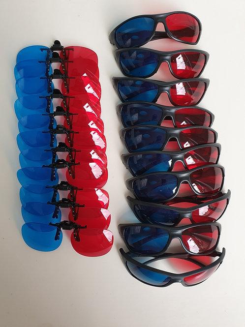 Lot de 20 lunettes rouge/bleu consignées