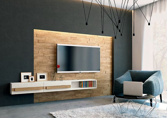 """Стеновая панель из массива дуба 3D.Мебельные фасады с деревянными ручками """"Ланса"""""""