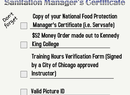 What You Will Need To Obtain Your City Of Chicago Food Service Sanitation Manager's Certificate