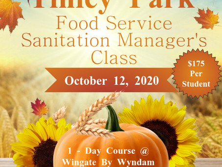 Our Tinley Park 1-day Sanitation Manager's Class New Location!