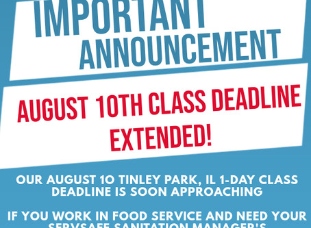 August 10th ServSafe Sanitation Manager's Class In Tinley Park!