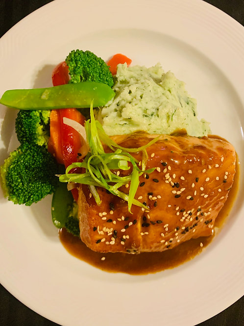 Teriyaki glazed salmon, wasabi mashed potatoes, sautéed vegetables