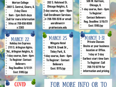 Our March 2021 Class Schedule Is Here! Register Today!