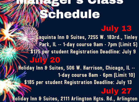 July 2020 Sanitation Manager's Class Schedule