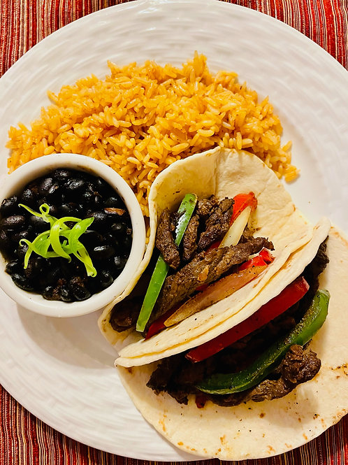 Steak fajitas, Spanish rice and black beans