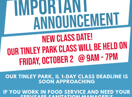 Our Tinley Park Sanitation Manager's Class Date Has Changed! Register today!
