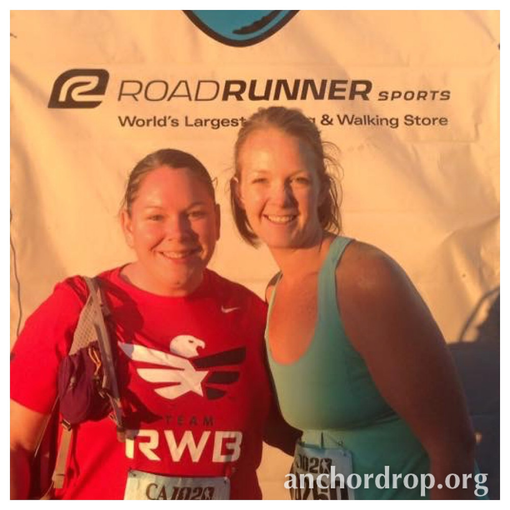 the author and her friend at the end of the race