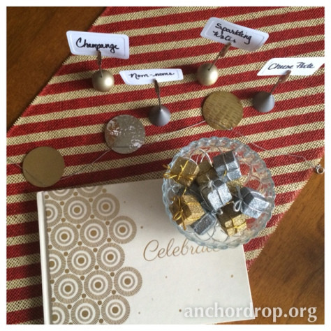 place cards and present ornaments
