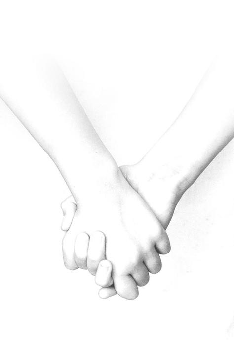 Drawing of hand holding
