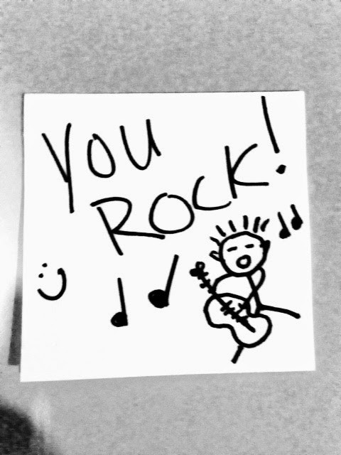 handwritten note that says you rock