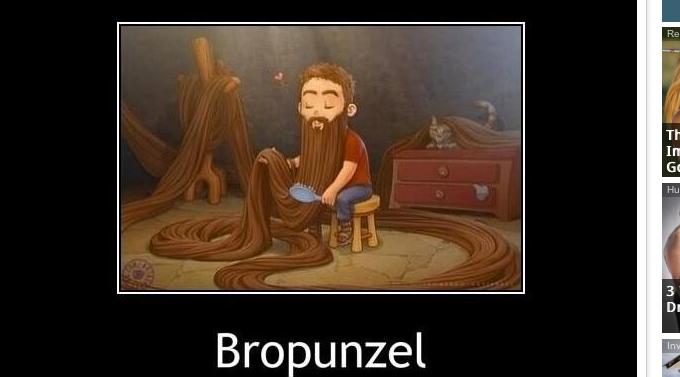 man with long beard and caption bropunzel