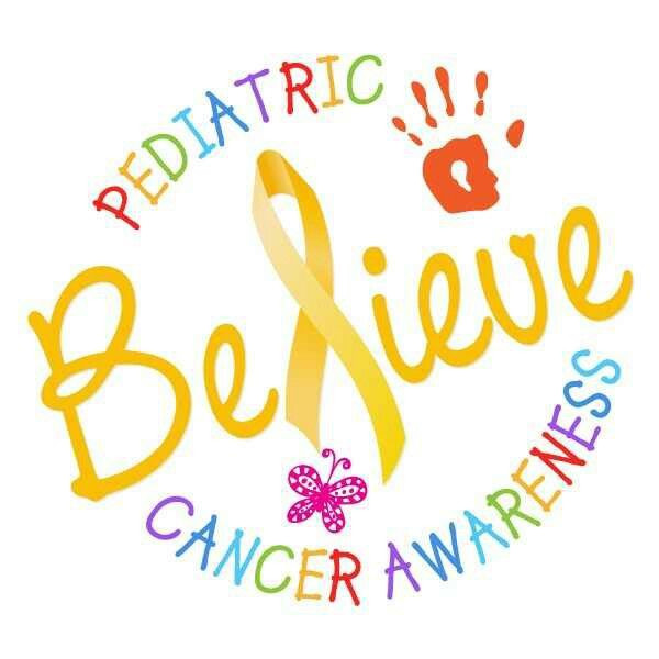 Text: believe pediatric cancer awareness