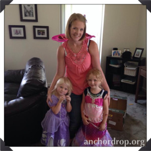 author and her kids in costumes
