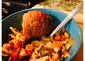 Crock Pot Minestrone Stew and Garlic Bread Recipe