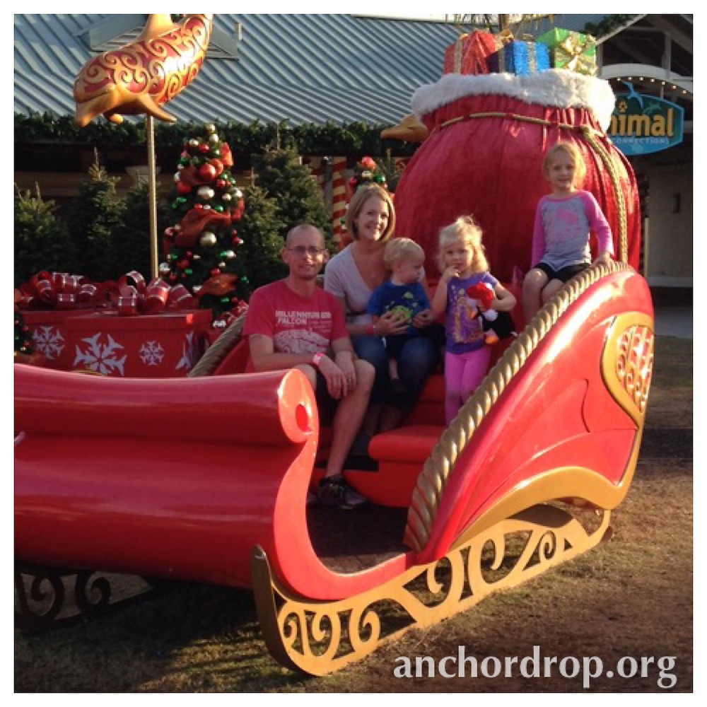 The author and her family in a sleigh